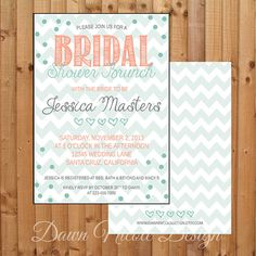 5x7 Bridal or Baby Shower invitation with mint teal and coral vintage design (digital download) chevron, teal, coral bridal or baby shower invite