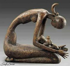 Mother And Chile Meilin (China) Art Sculpture, Abstract Sculpture, Metal Art, Wood Art, African Sculptures, Art Optical, 3d Prints, Mother And Child, Clay Art