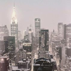 NYC skyline in the snow; by Vivienne Gucwa