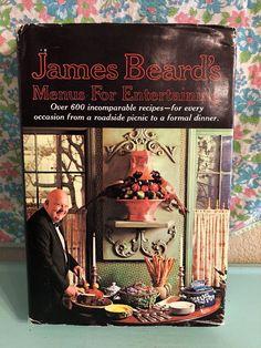 Vintage James Beard's Menus for Entertaining Cookbook 1965 HC DJ 1960s Housewife