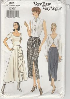 Skirt Patterns Sewing, Vogue Sewing Patterns, Vintage Sewing Patterns, Skirt Sewing, Sewing Ideas, Fashion Patterns, Sewing Projects, Star Patterns, Vintage Fashion