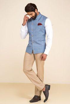 Oshnaar Blue Plaid Nehru Jacket With White Shirt And Beige Pants. #flyrobe #groom #groomwear #groomsherwani #sherwani #flyrobe #wedding #designersherwani