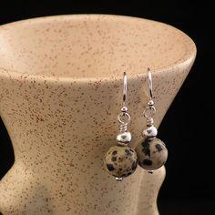 Stylish and Fun Dalmation Jasper Semi Precious Stone and Sterling Silver Earrings by John Conrad