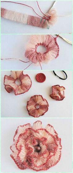 Crochet Broomstick Lace Flower Free Pattern - Crochet 3D Flower Motif, more patterns on site, #haken, gratis patroon (Engels), bezemsteel haken, bloem, decoratie, meer patronen op de site, #haakpatroon