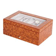 Mele  Co Peyton Glass Top Wooden Watch Box 10 Sections Burlwood finish -- For more information, visit image link.
