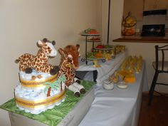 Diaper cake and favors