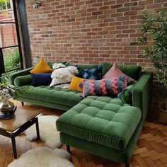 """191 Likes, 4 Comments - Allison Gharst & Kellie Dooley (@peabodyandsassafras) on Instagram: """"This is absolutely beautiful! The velvet couch. The brick wall. @lexden_home"""""""