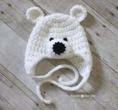 Polar Bear Hat Pattern Repeat Crafter Me: Crochet Polar Bear Hat Pattern includes modification notes to make for adults also!Repeat Crafter Me: Crochet Polar Bear Hat Pattern includes modification notes to make for adults also! Crochet Kids Hats, Cute Crochet, Crochet Crafts, Crochet Projects, Knit Crochet, Crochet Animals, Crochet Bear Hat, Crochet Baby Boy Hat, Crochet Christmas Hats
