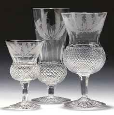 "Scottish ""Thistle"" Drinking glasses, Edinburgh Crystal, Late 20th Century"