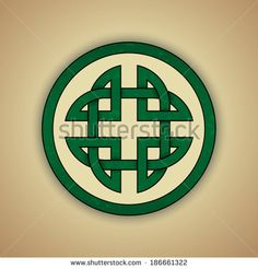 Celtic Knot Symbol of Strength. Vector illustration of green celtic knot with slight grunge texture - stock vector