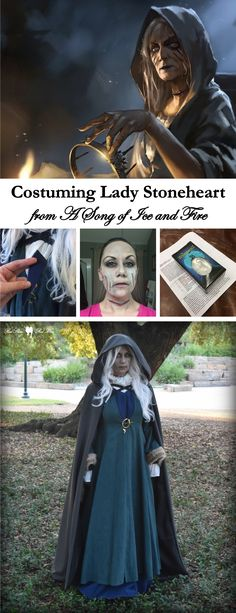 Costuming Lady Stoneheart from A Song of Ice and Fire (Lady Stoneheart book inspired costume/cosplay from A Song of Ice and Fire (Game of Thrones, A Storm of Swords using pieces from Catelyn Stark costume and updated underdress, wig, and zombie contacts.)