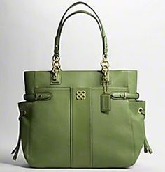 Coach Colette Leather Stripe Large Tote Mine Is Blue