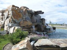 McGregor Lake Oversized Drystack Water Feature from Montana Rockworks at the Ridge Creek Golf Course in Dinuba, CA #design ideas #natural stone #landscape #exterior #water feature