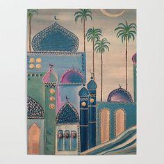 islamic art old city Throw Pillow by mudheher - Cover x with pillow insert - Indoor Canvas Prints, Canvas Art, Art Prints, Ramadan Decoration, Buch Design, Arabian Art, Islamic Art Calligraphy, Calligraphy Alphabet, City Art