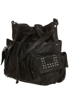 Black Leather Studded Drawstring Bag - Bags & Purses - Accessories - Topshop USA - StyleSays