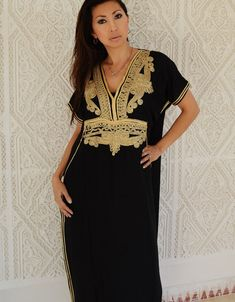 Black with Gold Marrakech Resort Caftan Kaftan by MaisonMarrakech
