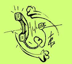 """Vuoi acquistare i miei lavori? http://www.redbubble.com/people/erroret Post- T """"Telephone"""" - Disegno su post-it vettorializzato."""