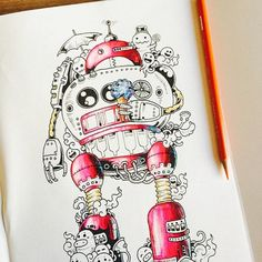 Coloring Book For Adults Titled Doodle Invasion By Kerby Rosanes