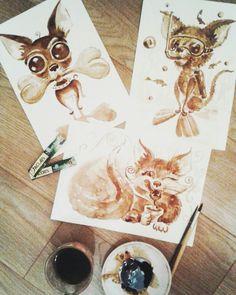 Size: 21x30 cm. 2017 #painting #coffee #art #cat #живопись #coffee_art #animals #кофейная_гризайль #café #sea #artist #creative #diving #kahvi #кофейная_акварель #caife  #fish #живопись_кофе #kaffe #jacobs #inspiration #cup #discoverer #coffee_time #bone #chihuahua #dog #jacobs_monarch #video #AneK_art
