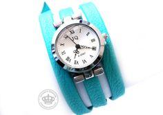 Nappaleder Armbanduhr Wickelarmband türkis von JanoschDesigns auf DaWanda.com