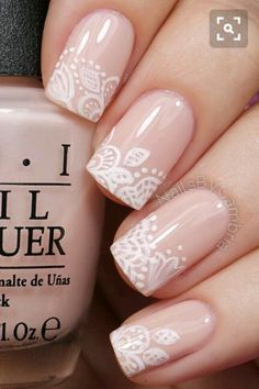 Give life to your nude nails by adding white polish on the tips with flower details on them. Give life to your nude nails by adding white polish on the tips with flower details on them. Cute Acrylic Nails, Glitter Nails, Blush Nails, Matte Nails, Wedding Acrylic Nails, Beige Nails, Stiletto Nails, Coffin Nails, Gorgeous Nails