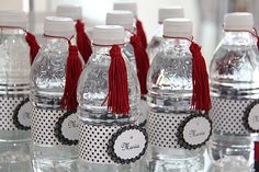 Chanel Party, Twin Birthday, Birthday Ideas, Fashion Themes, Retro Party, Buffet, Polka Dots, Design, Decorated Water Bottles