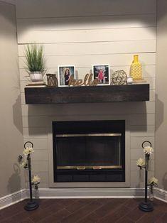 Floating Mantel Shelf, Floating Shelves With Lights, Floating Shelves Bedroom, Floating Shelves Kitchen, Floating Fireplace, Fireplace Shelves, Farmhouse Fireplace, Home Fireplace, Brick Fireplaces