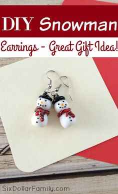 How to Make DIY Snowman Earrings - So cute! These DIY Snowman Earrings are the perfect stocking stuffer or homemade Christmas gift! They're easy to make, budget friendly and soooo cute!