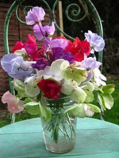 Sweet peas and hydrangea