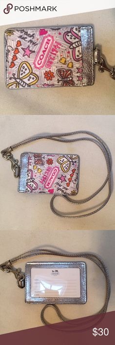 NWOT Coach ID Holder w/ Lanyard ✨NWOT✨ Coach printed ID holder with silver leather lanyard. Perfect for school or office IDs, traveling with ID or a credit card, etc. *check out my closet for other Coach items* Coach Accessories Key & Card Holders