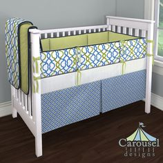 Crib bedding in Blue and Green Windowpane, Light Lime Minky, Make Waves, Solid Navy, White Minky Chenille, Solid Light Lime. Created using the Nursery Designer® by Carousel Designs where you mix and match from hundreds of fabrics to create your own unique baby bedding. #carouseldesigns