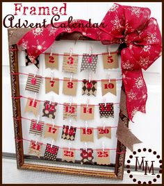 Framed Advent Calendar...use first for Thanksgiving for what you are thankful for, then use as an advent calendar.  Make small envelopes with fun scrapbook paper with a note for craft or gift.  use service ideas inside
