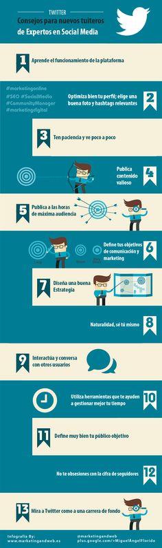 Consejos para crecer seguidores e influencia en Twitter. Infografía en español. #CommunityManager