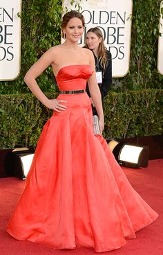 Jennifer Lawrence wears a jaw-dropping strapless Dior Couture gown to the Golden Globes