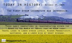 Today in History: Oct 23, 1824: The 1st Steam Locomotive was introduced. These early developments helped make our world the accessible place it is today. Sweeten the pot by knowing that Travel is Good for You! It lowers your risk of heart disease, leads to higher educational achievement and productivity. Need we say more? Go explore the world, Sole Friends! #katoenterprisesllc #todayinhistory #healthtips