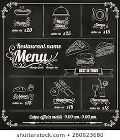 Images, photos et images vectorielles de stock similaires de Restaurant Food Menu Design Chalkboard Background - 196454786 similaires | Shutterstock Restaurant Names, Cafe Bar, Menu Design, Chalkboard Quotes, Art Quotes, Images, Doodles, Photos, Chalkboard