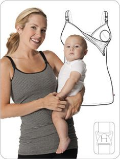 The BEST nursing tank! Keeps tummy covered. Has a netted lining to hold nursing pads in place. The cotton is extremely soft.