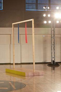 Custom wooden platforms built for the show