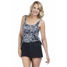 4481f06f70e00 Maxine of Hollywood Paisley Lane Faux Tankini Swim Dress Qvc, Swim Dress,  Tankini,