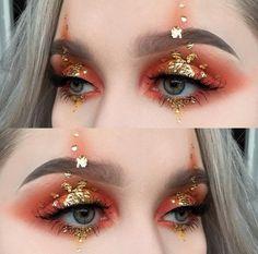 Gold flake glitter makeup