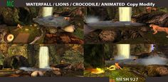 https://flic.kr/p/RcQKL7 | Waterfall jungle, animated,animals,camping Copy Modify | opy modify  size 40 by 20  only 54 impact  lion,tiger,and sound  crocodile animated and sound  waterfall, lac animated and sound  sit for 5 people  camping fire animated ,  rez instruction on box