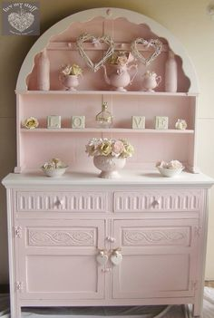 Pink and White Hutch~Shabby Chic. Would be cute with pink depression glass.