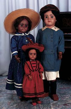 View Catalog Item - Theriault's Antique Doll Auctions=The one in the straw hat is by Simon & Halbig. The other two are by H Handwerk