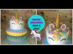 Pastel Unicornio Paso A Paso 2 Pisos En Chantilly - YouTube