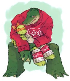fantasiawandering:  tmnt-central:  swervesbar:  so guys what if now listen what if we drew leatherhead in sweaters think about it  HNNNNNNNNGH-!! <D  Dying of squee