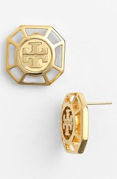 Tory Burch 'Audrina' Logo Stud Earrings | Nordstrom