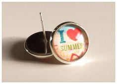 """Glas Ohrstecker - Handmade Ohrstecker """"I Love Summer"""" - ein Designerstück von Soulmate-Works bei DaWanda"""