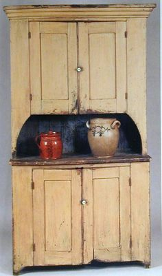 Great 2 piece cupboard with a high pie shelf. Paint and age are perfect.