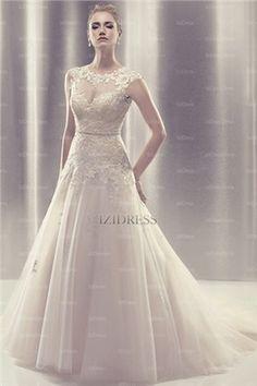 Linha-A/Princesa U profundo Cauda Corte Renda Vestidos de Noiva