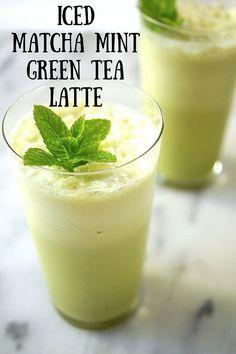 Iced Matcha Mint Green Tea Latte. Matcha is an antioxidant powerhouse, blended with ice, milk, honey, and fresh mint. Recipe on Mom's Kitchen Handbook.